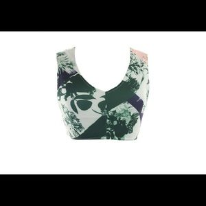 Kiind Of Green Multi Cutout-Back Floral Crop Top